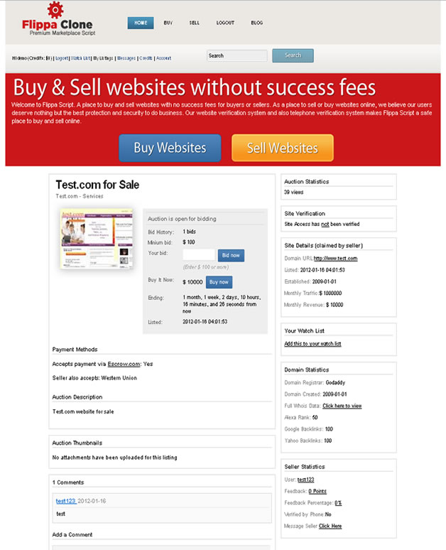 Flippa Clone Marketplace Script PHP Software